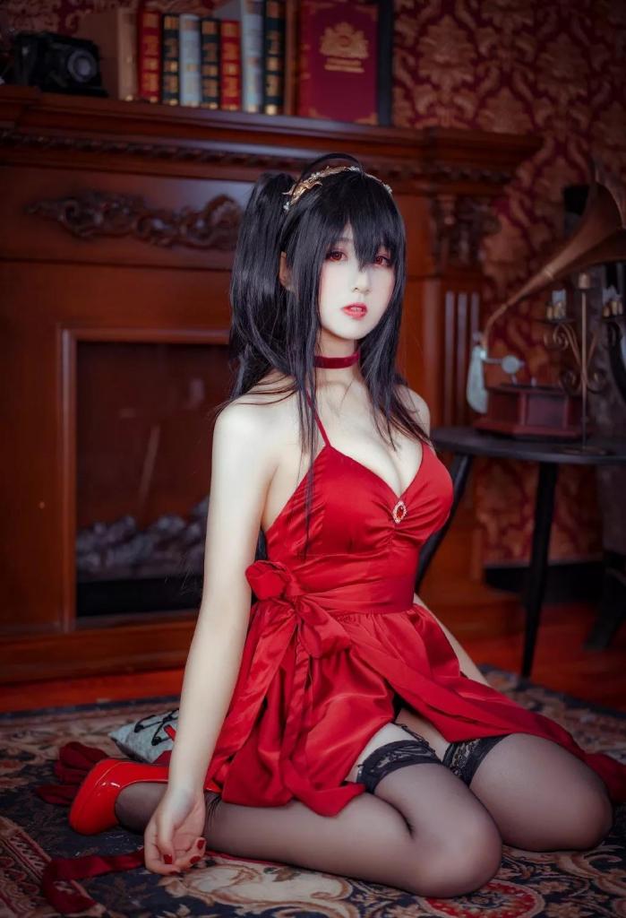 碧蓝航线cos动漫美女高跟红礼服写真-天使学社
